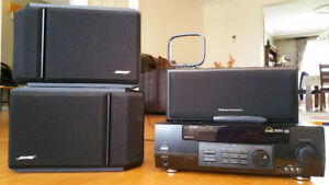 a pair of Bose bookshelf speakers, a Cerwin centre speaker,