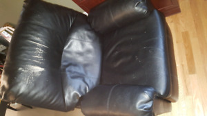 Faux leather sofa and matching recliner