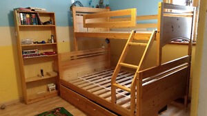 Bunk Bed - Twin over Double with drawers and bookcase