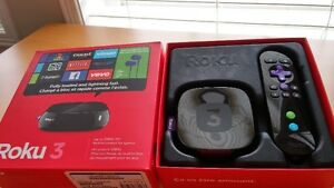 Roku 3 Streaming Media Player Wi-Fi + HDMI cable like NEW in Box