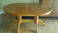 **SOLID Oak** Dining 2 pedestal 2 leaves & 8 chairs