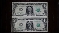 UNCUT SHEET OF 2 1981 AMERICAN 1$ BILLS IN MINT CONDITION!!!!!!!