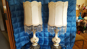 Table & Desk Lamps set - handcrafted shades