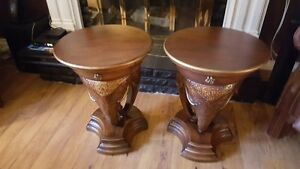 2 Beautiful Carved Elephant Tables