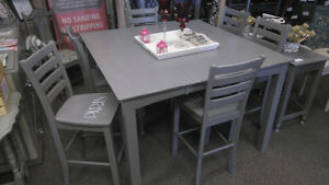 CHALK PAINTED PUB TABLE + 6 CHAIRS AWESOME COLOR/DESIGN