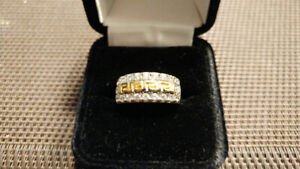 Bague OR jaune femme VERSACE zircon 10K lady gold diamond ring