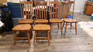6 Solid Oak Chairs just need a little TLC