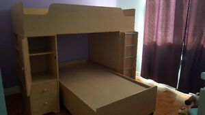 Kids Twin over Twin Loft Bed with Desk & Bookshelf