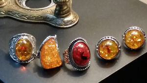 sterling silver rings with amber stones Gatineau Ottawa / Gatineau Area image 3