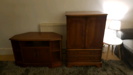 Tv Stand Cabinet Wood And Chest Vintage on wheels.