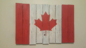 Handmade reclaimed wood Canadian flag