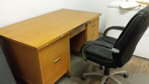 Solid oak desk plus black chair