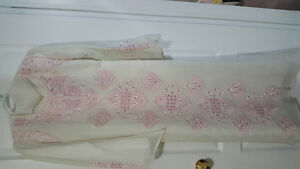 Arabic Dress- White with Pink Embroidery