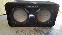 """Two 12"""" MTX JackHammer Subs In Box With Pioneer Amp"""
