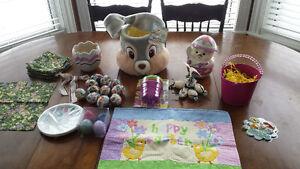 Easter basket, 12 napkins, assorted decor
