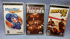3 PSP MEGAMAN,Def Jam Fight for NY The Takeover,Driver '76