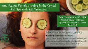 Spa Night! Facials and Salt Therapy @ Tip Top Health Shoppe!