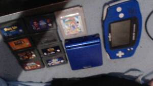 GBA TOYSRUS BLUE, GBA SP BLUE, 8 GBA VIDEO GAME LOT