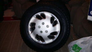 4 Snow Tires on Rims  With Hubcaps (5 Bolt-Pattern)