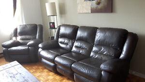 Real leather couch & lazy boy (set) with electric foot rests