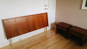 Mid Century Modern Teak Bed and side tables