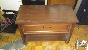 Antique Vintage Television Table TV Stand Wood on Wheels