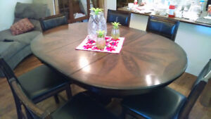 Solid oak counter-height dining set with 6 chairs