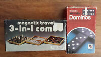 2 vintage board games - Dominoes & Hudson Bay 3-in -1 Chess set