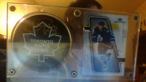 framed puck and card