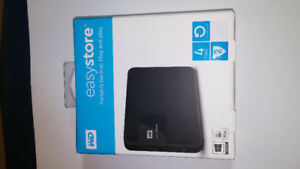 Brand New WD Easystore Portable Backup Plug and Play 4 TB HD