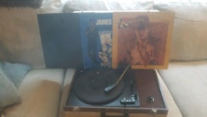 Vagabond Record Player with 3 Records
