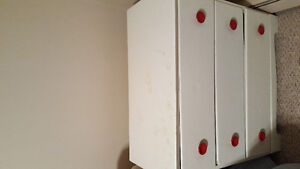 Wood Dresser, chair and clothes rack for sale.