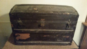 Vintage War-Era Wooden  Luggage Trunk/Chest from UK