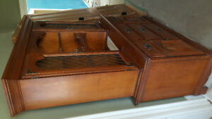 Hutch For Sale: Top and Bottom. Real wood, quality furniture.