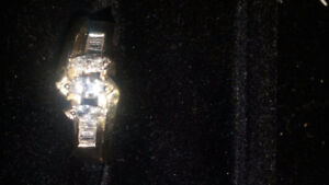 Rare 1/2 Kt Trinity ring 3 Marquis and 10 Baguette diamonds