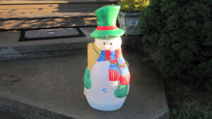 Vintage Christmas Snowman Blow Mold 30 Inches Christmas