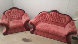 Champaign rose victorian love seat & chair!