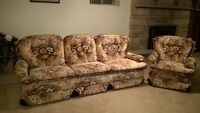 Brown Floral Couch and Chair