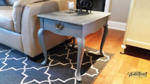 Painted Vintage French Provincial Grey/Blue End/Night Table