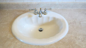 Bathroom taps, sink and counter-top