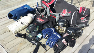 Hockey equipment with bag