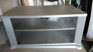 TV stand with glass doors and swivels