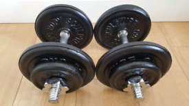 Free Delivery 2×15 kg Dumbbells Adjustable Weight Iron Plate