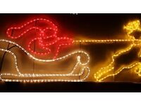 Christmas indoors outdoor Santa sleigh lights 4ft 5ins x 1 ft 9ins decoration
