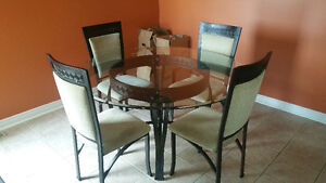Kitchen Glass Table Set W/ 6 Chairs