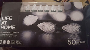 New in box C7 Pure White LED set of 50 Christmas lights