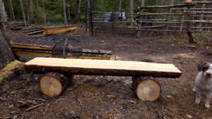Beautiful outdoor log benches and patio furniture - Crawford Bay