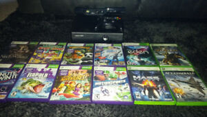Barley used xbox360 slim with kinect and 12 games
