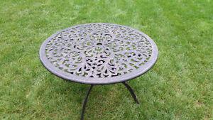 Patio Table Cast Aluminum Black Floral Blossom Pattern
