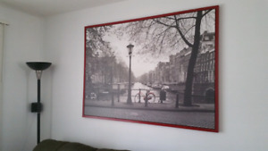 Large ikea print, edge painted red
